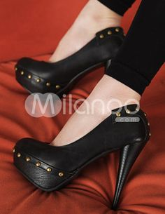 Sexy Platform Stileto Heel Studs PU Womens Pumps
