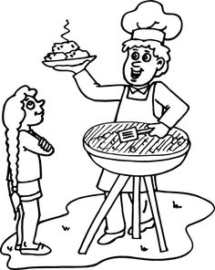 Summer Coloring Sheets Of A Bbq