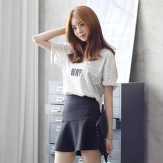 Womens Clothing Store [VANILLAMINT] Dangara Way T-shirt / Size : FREE / Price : 18.85 USD #korea #fashion #style #fashionshop #apperal #koreashop #ootd #vanillamint #t-shirt #basic