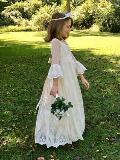 Ivory Flower Girl Dress  Shantung Silk with by Mousebeecouture