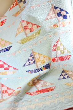 Sail Away. I just love sailboat quilts for little boys! (Someday I'll have grandbabies....)
