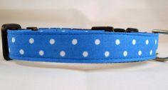Dog Collar - Dog, Martingale or Cat Collar - All Sizes - Royal Blue Polka Dots $14