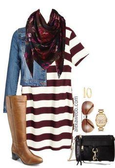 Plus Size Fall Striped Dress Outfit - Plus Size Fashion for Women - alexawebb.com #alexawebb