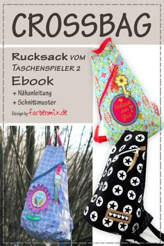 Rucksack Crossbag nähen – NEU jetzt als Ebook Do you want to sew a trendy crossbag? From today there is the pattern Crossbag from the player 2 CD as an Ebook – cut and instructions … Easy Crafts, Crafts For Kids, Muñeca Diy, Sewing Projects, Craft Projects, Diy Handbag, Handmade Handbags, Purses And Handbags, Bag Making