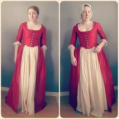From American Duchess's Instagram. Do you need to wear proper underpinnings with your historical costume? Here's an example of what happens when you skip the stays, bum pad, and petticoats (left) and the difference all the understructure makes (right)