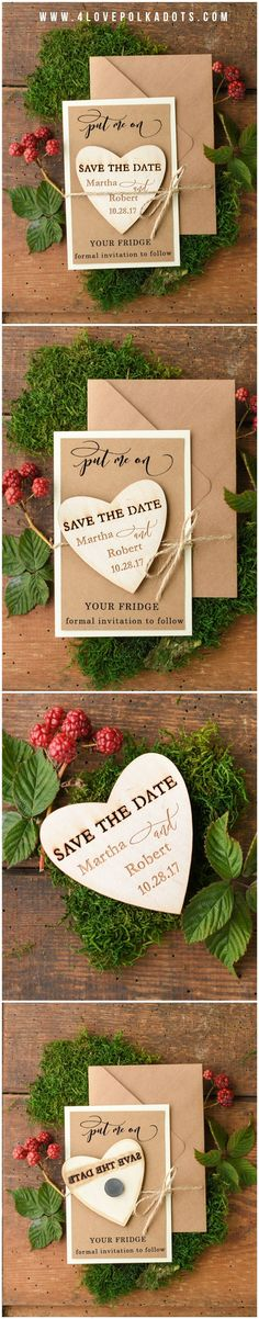 Save the Date Wooden Magnet #rustic #eco #savethedate #wood #weddingideas #winterwedding #winter