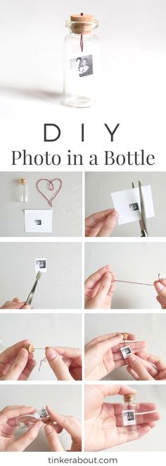 DIY Tiny Photo/Message in a Bottle as an Anniversary Gift Idea! - - DIY Tiny Photo/Message in a Bottle as an Anniversary Gift Idea! DIY Tiny Photo/Message in a Bottle as an Anniversary Gift Idea! Diy Valentines Gifts For Him, Easy Diy Christmas Gifts, Diy Birthday Gifts For Him, Diy Anniversary Gifts For Him, Diy Gifts For Him, Easy Gifts, Birthday Presents, Diy Christmas Gifts For Boyfriend, Diy Gifts For Best Friends