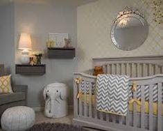 Unisex baby room themes with chevron silly safari fitted crib sheet Nursery Crib, Elephant Nursery, Crib Bedding, Girl Nursery, Baby Room Themes, Baby Room Colors, Unisex Baby Room, Gray Painted Walls, Yellow Nursery