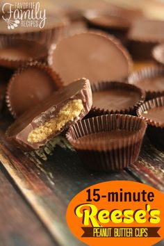 This homemade Reese's Peanut Butter Cups recipe will satisfy your peanut butter cup craving in only 15 minutes. They taste just like the real thing!