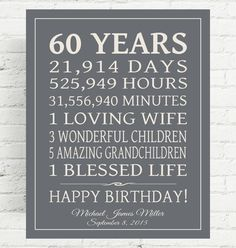 Celebrate your loved ones 60 years - or any year - birthday with this special gift, using your words. Shown here with days and hours, children, grandchildren but you may use your own lines as long as they fit similar to the example. This is perfect for any year birthday and will be cherished for a lifetime!  I NEED when ordering, in Note to PrintsbyChristine:  1. Your Background Color Choice if different than shown 2. Text color if different than shown 3. Personalization - Stats, name & b...