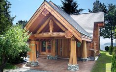 Log home's entryway is gorgeous, but the inside will excite any rustic home enthusiast