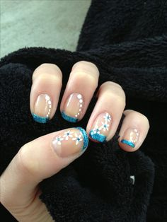 Turquoise glitter French manicure nails