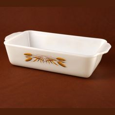 Vtg Wheat Loaf Pan Fire King Dish Gold on White by charmings http://etsy.me/yX3P20 via @Etsy