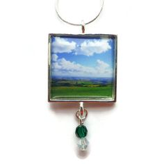 Blue Sky, Field View Pendant, Landscape Necklace, Green Blue, Original Handmade Photo Jewelry Jewellery, Silver Square swarovski beads, OOAK