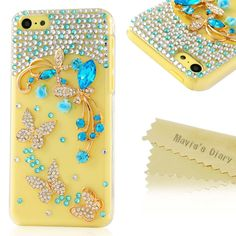 5c Case, iPhone 5c Case - Mavis's Diary 3D Handmade Bling Blue Crystal Butterfly Flowers Painted Sparkle Rhinestone Case Hard Cover for iPhone 5c with Soft Clean Cloth