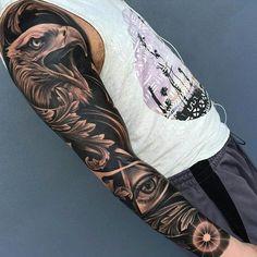awesome 80 Smart Black and Grey Tattoo Ideas - The Key Secret to Great Tattoos Leg Sleeve Tattoo, Best Sleeve Tattoos, Tattoo Sleeve Designs, Hand Tattoos, Eagle Tattoos, Great Tattoos, Tattoos For Guys, Tattoos Pics, Tattoo Images