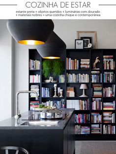 black bookcase in the kitchen