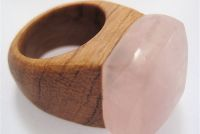 Rose Quartz Ring by Nga Waiata with recycled NZ wood