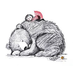 Nap time Screen print by Lisa Stubbs Art And Illustration, Graphic Design Illustration, Bear Art, Cute Art, Screen Printing, Artwork, Art Drawings, Character Design, Sketches