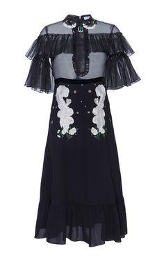 Vivetta Black Liko Midi Dress: This **Vivetta** Liko midi dress features a embroidered Peter pan collar, a sheer bodice with a ruffled bib, a gathered panel across chest and at sleeves, embroidered details throughout, and a fluid silhouette with a midi length hem.