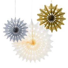 """Papierdeko """"Fächer"""" silber/gold/creme-schöne Papierfächer in drei verschiedenen Farben für die Hochzeitsdeko"""