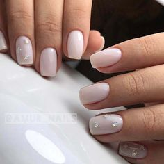 Elegant Nail Art Design with Rhinestones