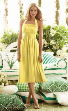 Yellow Chiffon A-line Halter Tea-length Bridesmaid Dress For Beach(NZBD06616)