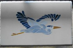 Blue Heron Stained Glass | Stained Glass Photo Album > Stained Glass Mosaic And Cement Blue Heron ...