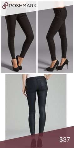 344aacb315c29 AG ABSOLUTE LEGGING ~ EXTREME SKINNY ~ BLACK ~ 25 Size 25R Black wax coated  fabric