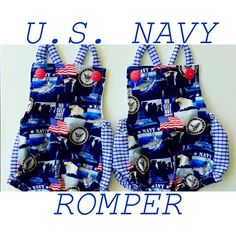 RAD ROMPER COLLECTION!!! Our Navy print for boys and girls also available in Army!!! 💙
