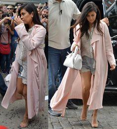 Pregnant Kourtney Kardashian in Floral Lace Shorts and Stuart Weitzman Nudist Heels