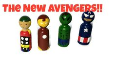 The Avengers, Thor, Captain America, Ironman,Hulk. Peg Dolls, Peg People, Superheros, Super Heros,Kids Wooden Toys, by Ntoys on Etsy #Avengers #Thor #CaptainAmerica #Hulk #Ironman #superheros