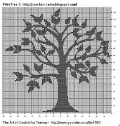 Filet Crochet Tree-could try as cross stitch