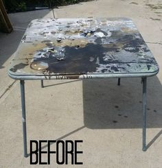diy card table makeover, repurposing upcycling, reupholster