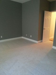 Grey walls white baseboards and carpet! Our master bedroom!