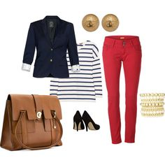 """""""Professional"""" ...red skinny jeans, stripe top, cool blazer & great bags & shoes"""
