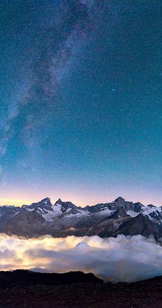 Milky Way & Zinalrothorn from above the clouds. Zermatt, Switzerland