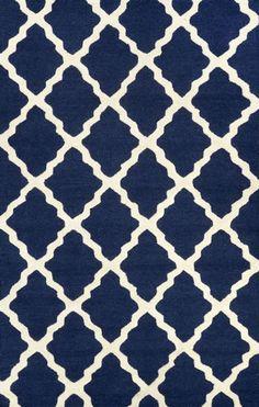 Homespun Moroccan Trellis Navy Blue Rug | Contemporary Rugs #RugsUSA