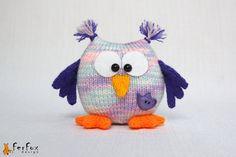 Knitted Owl, stuffed owl, softie owl, purple owl, hand knit bird, hand knit toy - Hilda the Owl