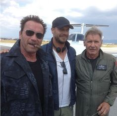 'The Expendables first look: Arnold Schwarzenegger and Harrison Ford team up on set The Expendables 3, Expendables Tattoo, Harrison Ford, Arnold Schwarzenegger, Rick Deckard, Mel Gibson, Jason Statham, Sylvester Stallone, Indiana Jones