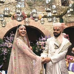 Wedding Pictures of Virat kohli and Anushka Sharma - And Yes they Did! Actress Anushka Sharma and cricketer Virat Kohli tied the knot in Italy on Monday. We have published the dreamy images of their wedding that will melt the heart of their fans. Anushka Sharma Virat Kohli, Virat And Anushka, Bollywood Couples, Bollywood Wedding, Bollywood Stars, Wedding Wear, Wedding Dresses, Wedding Outfits, Wedding Costumes