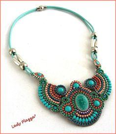 Collier-Plastron ~ Cuir Bleu-Turquoise, Cabochons,Céramique, Strass et métal - Turquoise, Rose, Corail, Vert-Anis : Parure par ladyplazza