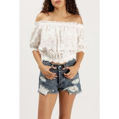 Azalea Off Shoulder Eyelet Lace Top ($59) ❤ liked on Polyvore featuring tops, blouses, white, white ruffle blouse, white eyelet blouse, white off the shoulder blouse, white crop top and ruffle blouses