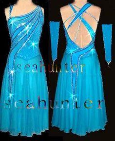 Ready Made Ballroom Ramba Cha Cha Latin Dance Dress US 10 UK 12 Blue Color | eBay
