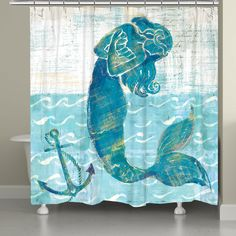 Rosecliff Heights This uniquely painted mermaid and anchor in shades of blue will add a sense of whimsy to your bathroom. This unique, art-inspired shower curtain is digitally printed to create crisp, vibrant colors and images and is easy to care for. Mermaid Bathroom Decor, Mermaid Home Decor, Mermaid Room, Mermaid Beach, Disney Bathroom, Mermaid Canvas, Mermaid Sign, Mermaid Crafts, Baby Mermaid