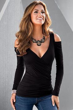 This is an example of a long sleeved top I would probably wear, because it is close-fitting, and I think it would pair well with many things I like to wear.