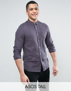 ASOS TALL Regular Fit Slubby Viscose Shirt In Grey