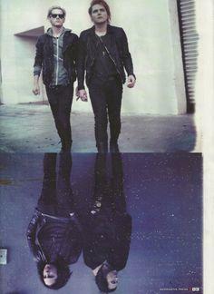 My Chemical Romance reflection (Clockwise: Mikey Way, Gerard Way, Frank Iero, Ray Toro)