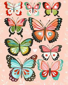 Butterfly Collection  Pink 8x10 print by thewheatfield on Etsy, $18.00