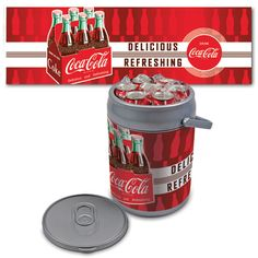 Can Cooler (Delicious & Refreshing)  The Can Cooler by Picnic Time is a hard-sided cooler and large beverage can replica that also doubles as a seat. It holds ten 12-oz. cans and has a 9 quart capacity. It features a snugly fitting - fully removable lid and folding handle. Perfect for the beach - patio - tailgating - parties - and sporting events.  $61.95